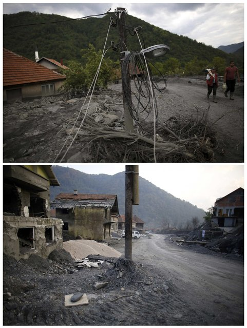 A combination photo shows people walking past a damaged electric pole during floods May 20, 2014 (top) and the same place after floods October 8, 2014 in Topcic Polje. (Photo by Dado Ruvic/Reuters)