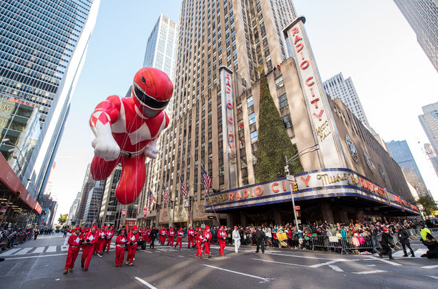 Red Power Rangers Balloon at the 91st Macys Thanksgiving Day Parade on November 23, 2017 in New York City. (Photo by Noam Galai/Getty Images for Saban Brands)
