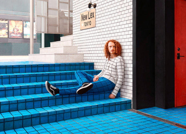 This image of a man posing in knitwear, camouflaging into tiles of the steps and wall, is a personal favourite of Joseph's. (Photo by Joseph Ford/South West News Service)