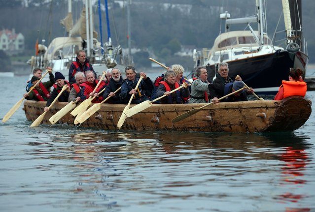Crew in Britain's first ever full-size reconstructed sea-going Bronze Age boat, paddle out to sea near to the National Maritime Museum as it makes its maiden voyage on March 6, 2013 in Falmouth, England. With a crew of of 18, equipped with Bronze-Age-style wooden paddles, the 15 metre long experimental vessel. (Photo by Matt Cardy)