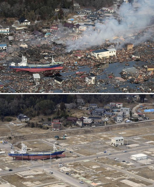 This combination photo shows an aerial view of Kesennuma, Miyagi prefecture on March 12, 2011, top, and Friday, March 4, 2013. Seen at left is the No. 18 Kyotokumaru fishing vessel that has been swept away from a port by the March 11, 2011 tsunami. Japan's progress in rebuilding from the mountain of water that thundered over coastal sea walls, sweeping entire communities away and killing nearly 19,000 people, is mainly measured in barren foundations and empty spaces. Clearing of forests on higher ground to make space for relocation of survivors has barely begun. Japan next week observes two years from the disasters which devastated the northeastern Pacific coast of the country. (Photo by AP Photo/Kyodo News)