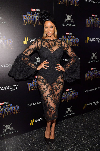 """TV personality Tyra Banks attends the screening of Marvel Studios' """"Black Panther"""" hosted by The Cinema Society on February 13, 2018 in New York City. (Photo by Roy Rochlin/Getty Images)"""