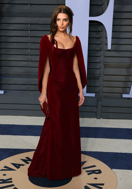Emily Ratajkowski attends the 2018 Vanity Fair Oscar Party following the 90th Academy Awards at The Wallis Annenberg Center for the Performing Arts in Beverly Hills, California, on March 4, 2018. (Photo by Jean-Baptiste Lacroix/AFP Photo)
