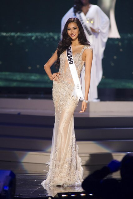 Pimbongkod Chankaew, Miss Thailand 2014 competes on stage in her evening gown during the Miss Universe Preliminary Show in Miami, Florida in this January 21, 2015 handout photo. (Photo by Reuters/Miss Universe Organization)