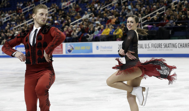 Alexandra Aldridge, right, and Daniel Eaton perform during their short dance program in the U.S. Figure Skating Championships in Greensboro, N.C., Friday, January 23, 2015. (Photo by Gerry Broome/AP Photo)