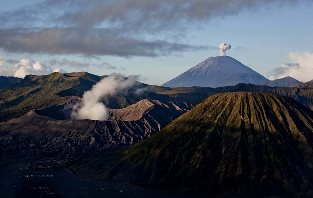 Mount Bromo, Mount Semeru and Mount Batok, the location of the Tenggerese villages where the Tenggerese Hindu Yadnya Kasada Festival is held, are seen in Bromo Tengger Semeru National Park, on July 23, 2013. (Photo by Ulet Ifansasti/Getty Images)