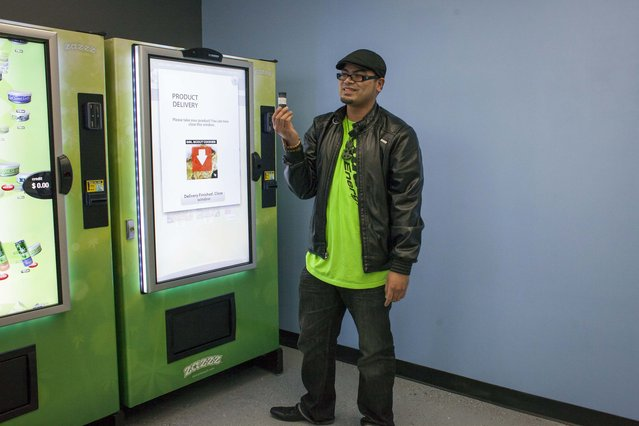 Lynyrd Puyat shows one gram of the Girl Scout Cookies strain of marijuana that he purchased for $15 using a ZaZZZ vending machine at Seattle Caregivers, a medical marijuana dispensary, in Seattle, Washington February 3, 2015. (Photo by David Ryder/Reuters)