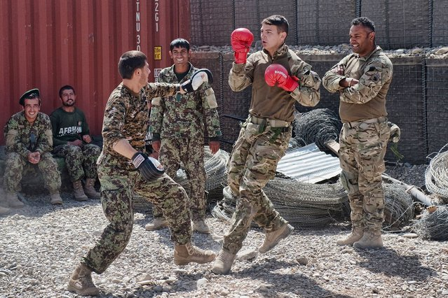 """""""Breaking Barriers"""" – Soldiers from 1 Scots are seen bonding with their Afghan colleagues during a checkpoint visits. (Photo by Jamie Peters/PA Wire)"""
