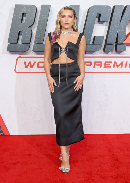 """English actress Florence Pugh attends the """"Black Widow"""" UK Film Premiere at Cineworld Leicester Square on June 29, 2021 in London, England. (Photo by Mike Marsland/WireImage)"""