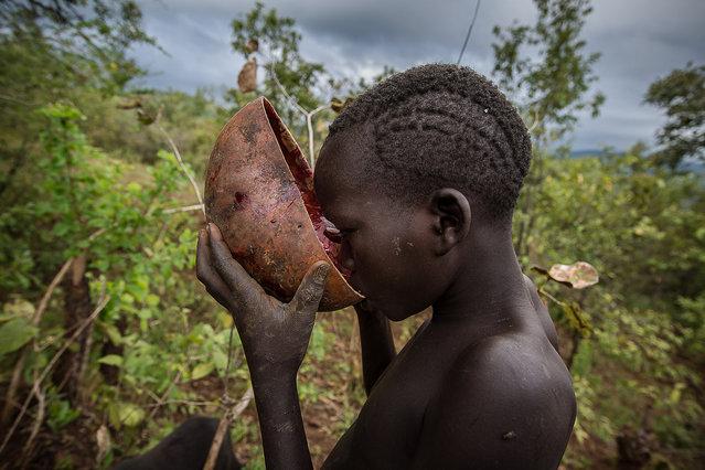 Surma tribe at a blood drinking ritual