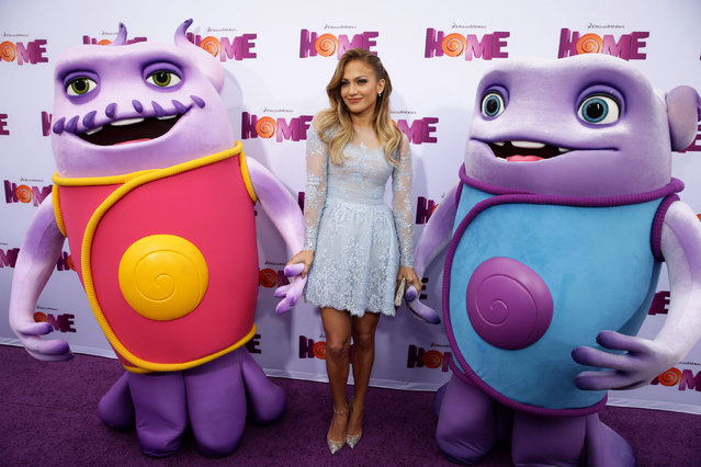 "Jennifer Lopez seen at the Twentieth Century Fox and DreamWorks Animation Los Angeles Premiere of ""Home"" held at the Regency Village Theatre on Sunday, March 22, 2015, in Westwood, Calif. (Photo by Eric Charbonnuea/Invision for Twentieth Century Fox/AP Images)"