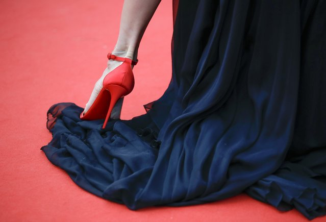"""Spanish model and television presenter Nieves Alvarez arrives for the screening of the film """"The French Dispatch"""" at the 74th edition of the Cannes Film Festival in Cannes, southern France, on July 12, 2021. (Photo by Sarah Meyssonnier/Reuters)"""