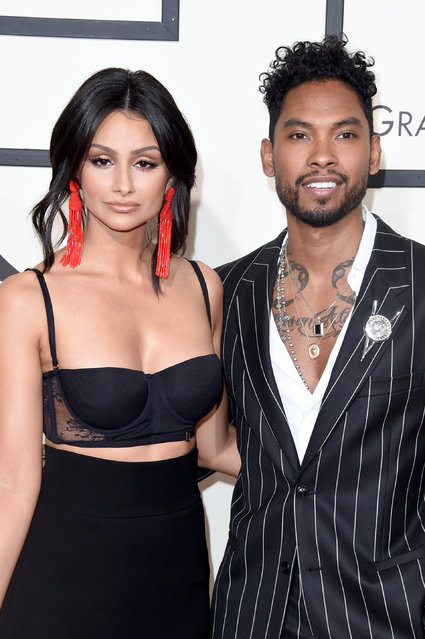 Actress Nazanin Mandi (L) and singer Miguel attend The 58th GRAMMY Awards at Staples Center on February 15, 2016 in Los Angeles, California. (Photo by Jason Merritt/Getty Images for NARAS)