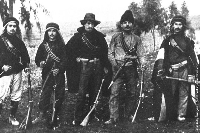 Members of Hashomer, a Jewish security organization dedicated to protecting pioneering Zionist settlements, pose with their rifles October 1, 1907 in the Upper Galilee during the Ottoman rule of Palestine in what would later become the State of Israel