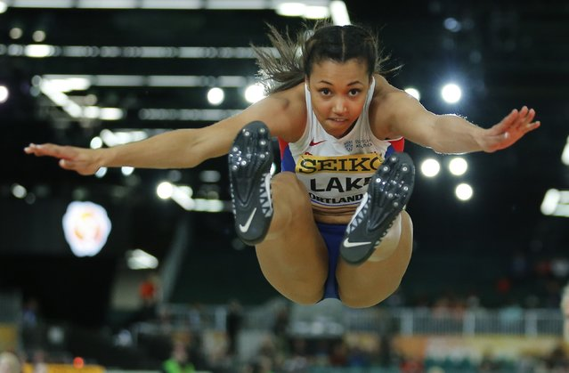 Morgan Lake of Britain competes in the long jump portion of the women's pentathlon during the IAAF World Indoor Athletics Championships in Portland, Oregon March 18, 2016. (Photo by Mike Blake/Reuters)