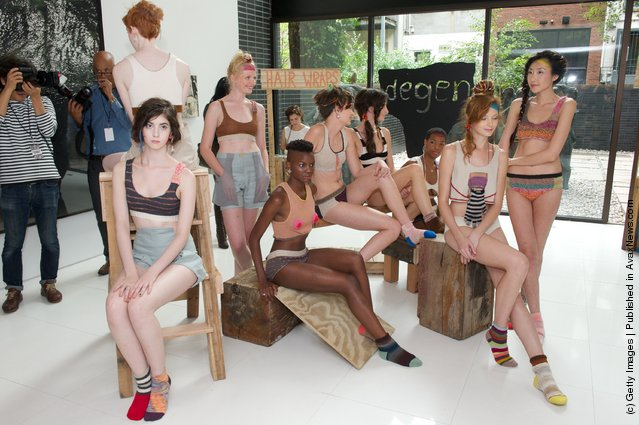Models bare all at the latest DEGEN Spring 2012 presentation during Mercedes Benz Fashion Week