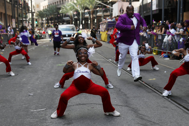 Members of a school dance group perform during the Krewe of Zulu parade during Mardi Gras in New Orleans, Louisiana U.S., February 28, 2017. (Photo by Shannon Stapleton/Reuters)