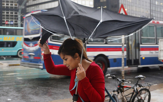 A woman struggles to control her umbrella from the wind during a rainfall in Buenos Aires April 7, 2014. (Photo by Enrique Marcarian/Reuters)