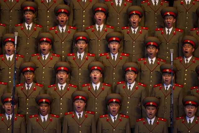 A North Korean choir sings during a concert in Pyongyang on Monday April 16, 2012 to commemorate 100 years since the birth of Kim Il Sung. (Photo by David Guttenfelder/AP Photo)
