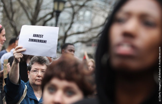 Supporters of Trayvon Martin rally in Union Square during a 'Million Hoodie March' in Manhattan