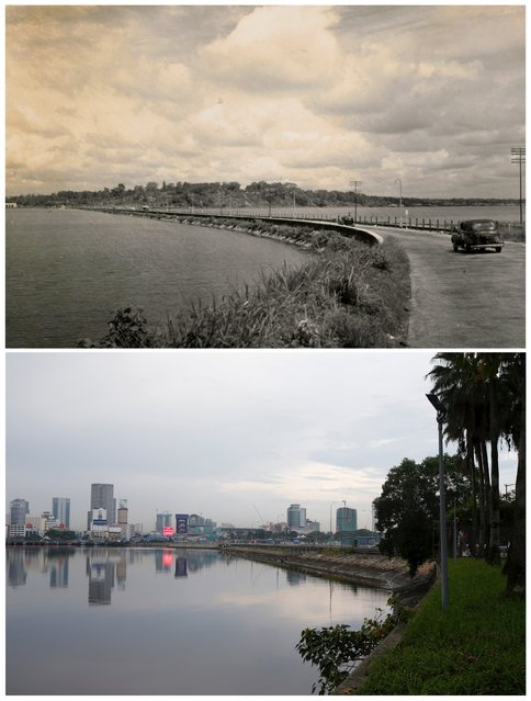 A car travels towards Malaysia's southern city of Johor Bahru on the Woodlands causeway in this photo taken in the 1950s and the same location May 25, 2015. (Photo by Edgar Su/Reuters/National Archives of Singapore/Ministry of Information and the Arts)