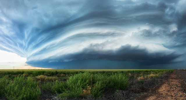 A fully developed high precipitation supercell just north of Stratford, Texas on May 17, 2016. (Photo by Maximilian Conrad/Caters News)