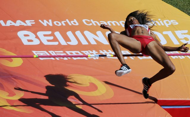 Erica Bougard of the U.S. competes in the high jump event of the women's heptathlon during the 15th IAAF World Championships at the National Stadium in Beijing, China, August 22, 2015. (Photo by Fabrizio Bensch/Reuters)