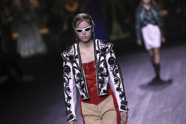 A model wears a creation for the Louis Vuitton fashion collection during Women's fashion week Fall/Winter 2020/21 presented in Paris, Tuesday, March 3, 2020. (Photo by Vianney Le Caer/Invision/AP Photo)