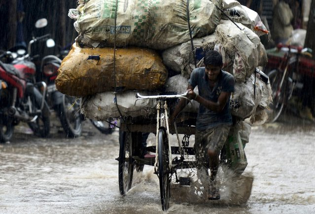 A Bangladeshi rickshaw puller makes his way through the rain in Dhaka on August 19, 2014. Seven rivers in Bangladesh are flowing above the danger mark after heavy rains. (Photo by Munir Uz Zaman/AFP Photo)