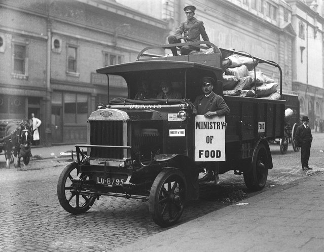 A Ministry of Food lorry loaded with beef at Smithfield market, London, during the railway strike, October 1919.