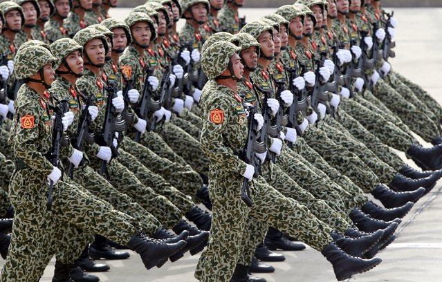 Vietnamese soldiers of a commando unit march during a parade marking their 70th National Day at Ba Dinh square in Hanoi, Vietnam September 2, 2015. (Photo by Reuters/Kham)