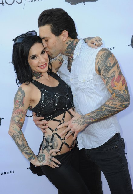 Joanna Angel and Small Hands arrive for the premiere of 405/Sunset's Reality Talk Show 'Breakfast With Granny held at Raleigh Studios on July 26, 2018 in Los Angeles, California. (Photo by Albert L. Ortega/Getty Images)