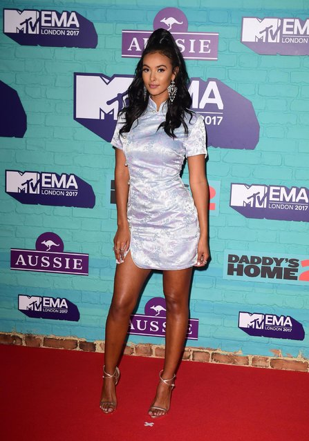 Maya Jama arrives at the 2017 MTV Europe Music Awards at Wembley Arena in London, Britain, November 12, 2017. (Photo by PA Wire)
