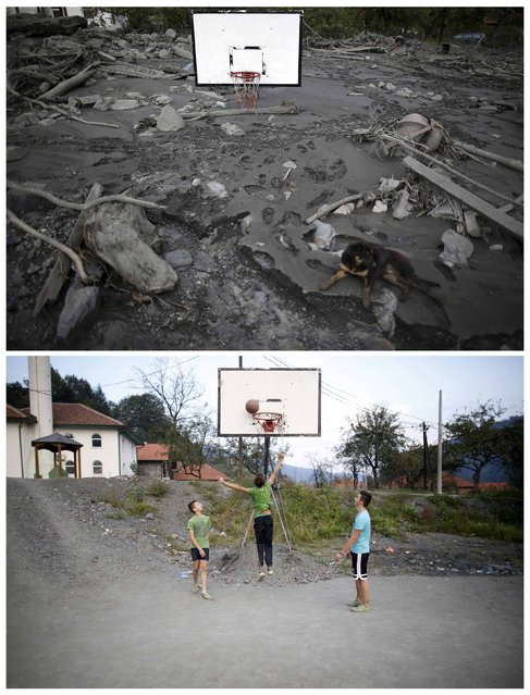 A combination photo shows a dog sits on a flood-damaged basketball court during floods May 20, 2014 (top) and the same place after floods October 8, 2014 in Topcic Polje. (Photo by Dado Ruvic/Reuters)