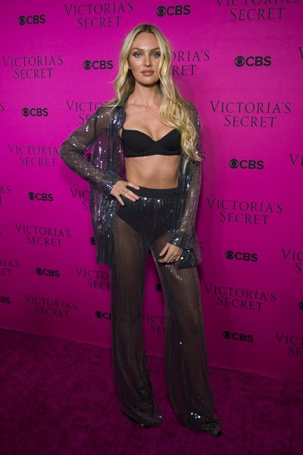 Candice Swanepoel attends the 2017 Victoria's Secret Fashion Show viewing party pink carpet at Spring Studios on November 28, 2017 in New York City. (Photo by Michael Stewart/WireImage)