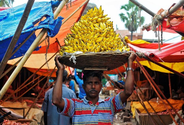 A labourer carries a basket of bananas inside a wholesale fruit and vegetable market in Bengaluru, India, August 22, 2016. (Photo by Abhishek N. Chinnappa/Reuters)