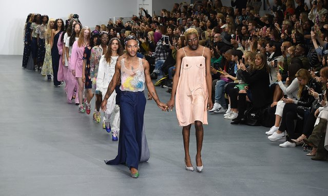 Models walk the runway at the Ashish show during London Fashion Week Spring/Summer 2016/17 on September 22, 2015 in London, England. (Photo by Stuart C. Wilson/Getty Images)