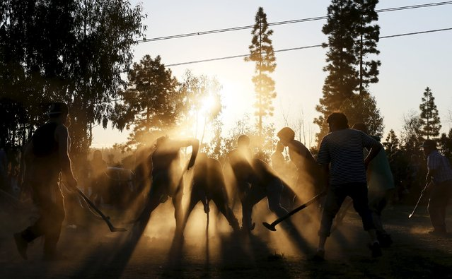 "People play ""Palin"", a traditional ritual and ancestral Mapuche game played with curved sticks called ""Chuecas"" and a wooden ball, during a meet on Dia de la Raza (Day of the Races), also known as Columbus Day in Vina del Mar, Chile October 11, 2015. (Photo by Rodrigo Garrido/Reuters)"