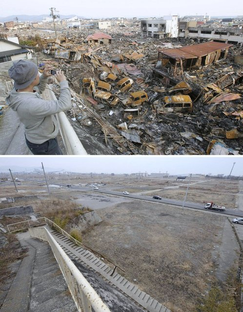 This combination photo shows a view of Ishinomaki, Miyagi prefecture on March 19, 2011, top, and Friday, March 1, 2013. Japan next week observes two years from the March 11, 2011 earthquake and tsunami which devastated the northeastern Pacific coast of the country. Japan's progress in rebuilding from the mountain of water that thundered over coastal sea walls, sweeping entire communities away and killing nearly 19,000 people, is mainly measured in barren foundations and empty spaces. Clearing of forests on higher ground to make space for relocation of survivors has barely begun. (Photo by AP Photo/Kyodo News)