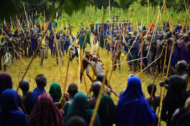 """Men from the Suri tribe take part in a """"Donga"""" or stick fight in Ethiopia's southern Omo Valley region near Kibbish on September 24, 2016. Traditionally the fight is a way to impress women and find a wife. The fights are brutal and sometimes result in death. The combatants fight with little or no clothing and sometimes no protection at all. The Suri are a pastoralist Nilotic ethnic group in Ethiopia. The construction of the Gibe III dam, the third largest hydroelectric plant in Africa, and large areas of very """"thirsty"""" cotton and sugar plantations and factories along the Omo river are impacting heavily on the lives of tribes living in the Omo Valley who depend on the river for their survival and way of life. Human rights groups fear for the future of the tribes if they are forced to scatter, give up traditional ways through loss of land or ability to keep cattle as globalisation and development increases. (Photo by Carl De Souza/AFP Photo)"""