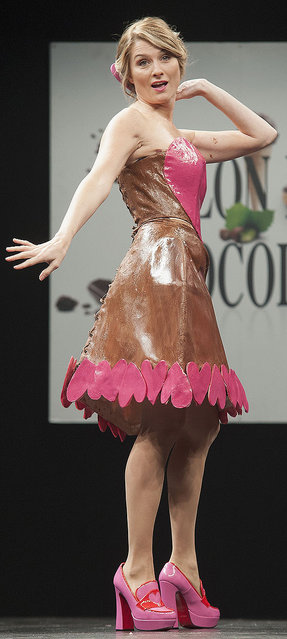 Sandrine Arcizet walks the runway during the Chocolate fashion show as a part of the Salon Du Chocolat 2015 - Chocolate Fair at Parc des Expositions Porte de Versailles on October 27, 2015 in Paris, France. (Photo by Kay-Paris Fernandes/WireImage)