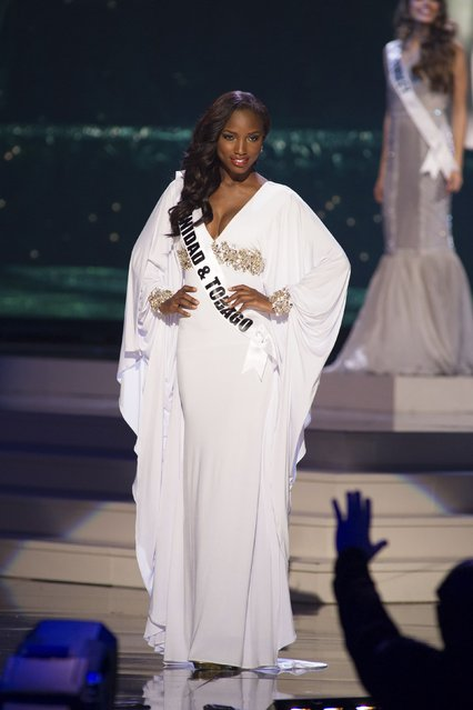 Jevon King, Miss Trinidad & Tobago 2014 competes on stage in her evening gown during the Miss Universe Preliminary Show in Miami, Florida in this January 21, 2015 handout photo. (Photo by Reuters/Miss Universe Organization)