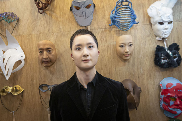Shuhei Okawara, owner of mask shop Kamenya Omote, wearing Hyper-realistic face mask poses for a portrait  on January 28, 2021 in Tokyo, Japan. The masks, made by Japanese retailer Kamenya Omote, are modelled on actual people who are paid 40,000 Yen for the right to use their face and are created on a 3D printer before being sold for up to 98,000 Yen. Although providing quite a party piece, unfortunately they don't offer protection from coronavirus. (Photo by Yuichi Yamazaki/Getty Images)