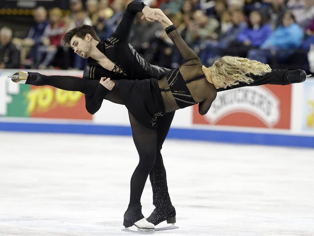 Madison Hubbell and Zachary Donohue, left, perform during the free dance program in the U.S. Figure Skating Championships in Greensboro, N.C., Saturday, January 24, 2015. (Photo by Gerry Broome/AP Photo)