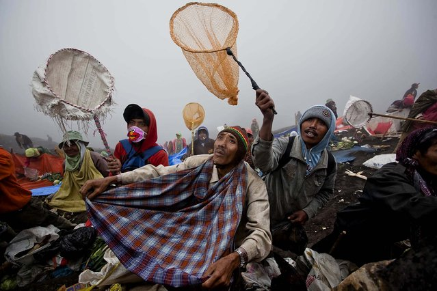 Villagers hold nets as they wait to catch offerings thrown by Hindu worshippers at the crater of Mount Bromo during the Yadnya Kasada Festival in Probolinggo, East Java, Indonesia, on July 24, 2013. The festival, celebrated by the Tenggerese people, lasts about a month. On the fourteenth day, the Tenggerese make the journey to Mount Bromo to make offerings of rice, fruits, vegetables, flowers and livestock to the mountain gods by throwing them into the volcano's caldera. (Photo by Ulet Ifansasti/Getty Images)
