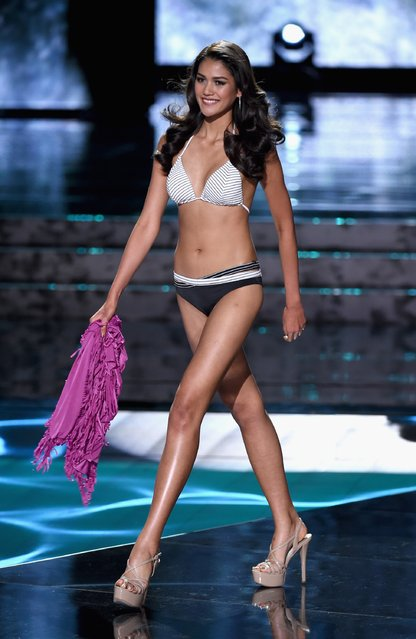Miss Thailand 2015, Aniporn Chalermburanawong, competes in the swimsuit competition during the 2015 Miss Universe Pageant at The Axis at Planet Hollywood Resort & Casino on December 20, 2015 in Las Vegas, Nevada. (Photo by Ethan Miller/Getty Images)
