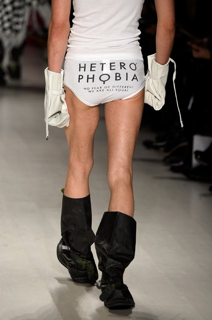 A model walks the runway in a design by Heterophobia at the Charity Water fashion show during Mercedes-Benz Fashion Week Fall 2015 at The Salon at Lincoln Center on February 12, 2015 in New York City. (Photo by Frazer Harrison/Getty Images for Mercedes-Benz Fashion Week)