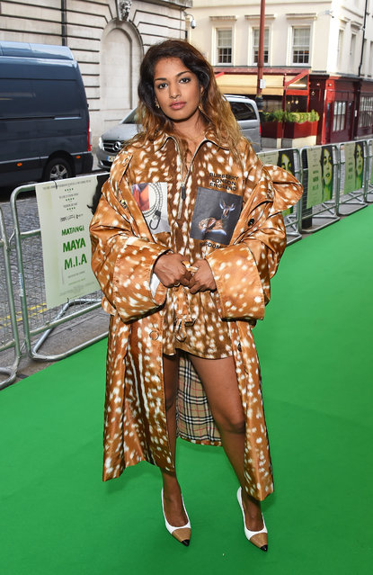 """Maya Arulpragasam attends the London Premiere of """"MATANGI / MAYA / M.I.A."""" at The Curzon Mayfair on September 19, 2018 in London, England. (Photo by David M. Benett/Dave Benett/WireImage)"""