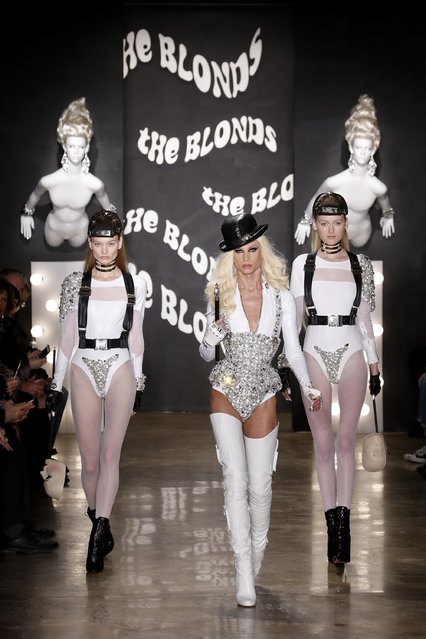 Phillipe Blond and models walk the runway at The Blonds show during Mercedes-Benz Fashion Week Fall 2015 at Milk Studios on February 18, 2015 in New York City. (Photo by Brian Ach/Getty Images)