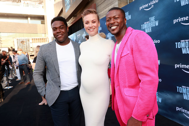 """(L-R) Sam Richardson, Yvonne Strahovski, and Edwin Hodge attend the premiere of Amazon's """"The Tomorrow War"""" at Banc of California Stadium on June 30, 2021 in Los Angeles, California. (Photo by Emma McIntyre/Getty Images)"""